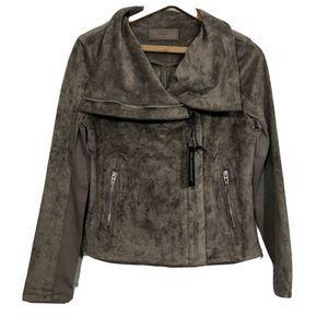 Taupe High Collard Zip Up Faux Suede Moto Jacket